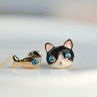 C3036 Korean jewelry cute small female cat and fish fashion earrings