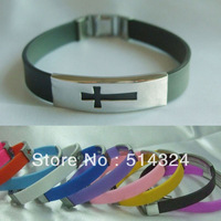 Fashion Men's rubber Cross stainless steel  bracelet wholesale/retailer