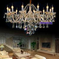 Elegant Crystal 12 light chandelier bedroom  Luxury Chandeliers Energy Saving Lamp Staircase chandelier amber color chandeler