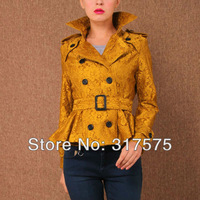 Free shipping 2013 autumn and winter large yard elegance lace flounced waist windbreaker jacket women short paragraph