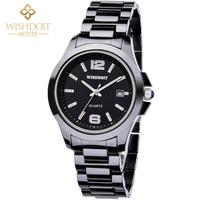 Free Shipping!!! Fashion Black Ceramic  Calendar 100M Waterproof Quartz Watch For Men