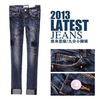 2013 autumn women's fashion jeans female jeans female slim mid waist skinny pants