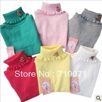 Free shipping 2014 autumn and winter girls flower decoration 100% cotton turtleneck knitted elastic ruffle sweater