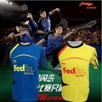 Free shipping whosesale New 2012 Li-Ning Badminton /table tennis Men Polo Shirt Yellow Blue