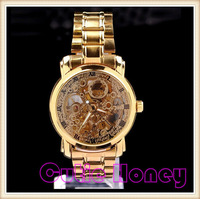 20pcs DHL  Free Shipping Hot Luxury Men's Mechanical Hand Wind Hollow Engraving Rose Gold Alloy Band Gift Skeleton Wristwatch