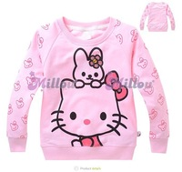 New design girls hello kitty long sleeve sweatshirt kids cotton tops hoodies children's christmas clothing baby lovely t-shirt