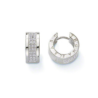 Ts double diamond thomas hoop earrings white