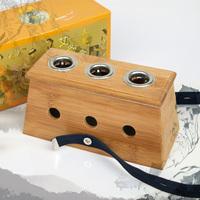 Thickening of pamboo 3 holes moxibustion box 3 moxa box utensils folium artemisiae argyi device cauterize moxa box