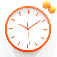 Brief 3d three-dimensional wall clock orange clock