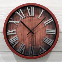 vintage classic metal silver three-dimensional digital clock wood grain rustic MUTE CLCOK