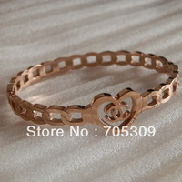 Free shipping! Wholesale rose gold plated titanium steel bangle good price good quality HB072