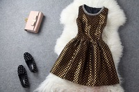 Hot Sale High Street Women Embriodery Vintage Party Dresses New Fashion 2014, HK Post Fast Free Shipping(T848LY)