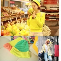 2013 autumn and winter color neon semi-flared knitted hat color block decoration knitted hat B257