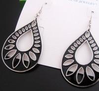 Minimum Order $20 (mixed order)   fashion jewelry  Black droplet Earrings