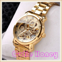 Hot Luxury Men Mechanical Hand Wind Hollow Engraving Rose Gold Alloy Band Gift Skeleton Wrist Watch Free Shipping