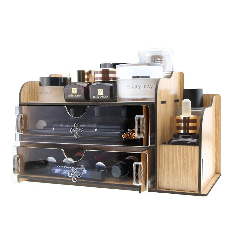 Acrylic Wooden Makeup Organizer / Diy Desktop Storage Box / Double ...