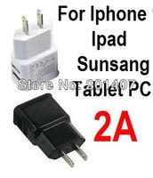 2.1 A High Quality Dual USB Port EU Plug Home Wall Charger for iphone 4 5 Samsung s3 s4 Ipad