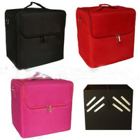 Professional double open cosmetic bag fabric portable cosmetics rose cloth cosmetic box multi-layer Large