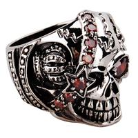 Eternal halloween thai silver pure silver men vintage punk gothic skull ring pirate queen
