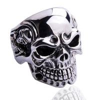 Eternal accessories men vintage thai silver men ring big punk skull ring men