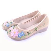 Free shipping Beijing technology cotton-made shoes in denim wedges shoes embroidered shoes 2811 salaryman