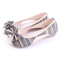 Free shipping Beijing technology cotton-made shoes women's bow stripe cloth shoe open toe female sandals