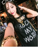 "Wholesales&Retail,Cotton lady's T-shirt with rivets,Punk and sexy style,""Rock my world"",Hot selling"