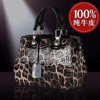 Hot selling new arrival leopard pattern women's japanned leather handbag genuine leather cowhide handbag cross-body  bags