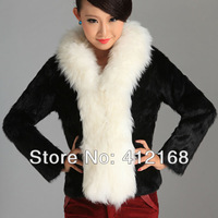 Real Leather 3 Colors  Rabbit Fur & Wool Collar 2013 New Winter Women's Genuine Coat Jacket vintage lady fashion