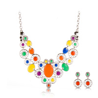 party Jewelry fashion colorful chain vintage necklace female golden necklace Free Shipping