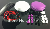 2013 best 3.5mm DJ headphones earphones with mic in storage case 6 earbuds 1 clip in ear earpluds earpiece  free shipping