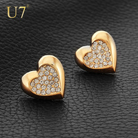 New Romantic Heart Earrings Women Jewelry Gift Items Wholesale 18K Real Gold Plated Rhinestone Full Crystal Stub Earrings E348