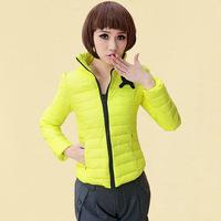 Candy color slim wadded jacket coat short design sweet princess solid color stand collar cotton-padded jacket slim