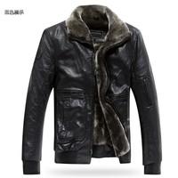 Free shipping !!! Men's counter genuine lamb fur fur collar Korean Slim thick warm sheep skin leather jacket