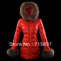 Brand 2013/2014 New Style Badger Fur Hooded jacket,Long Winter Duck Down Coat Black/Red/White 3 Color,Free Shipping