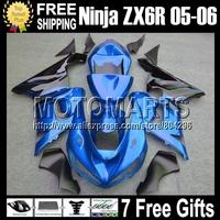 Black blue 7gifts+100%NEW For KAWASAKI NINJA ZX6R ZX-6R ZX 6R 636 #9131 black flames ZX636 2005 2006 05 06  Fairing Kit