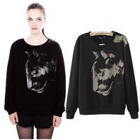 [ON SALE!] 2013 Branded Women's Sweatshirts Leopard Head Pattern Long Sleeve O-Neck Lady's Jacket  G3527