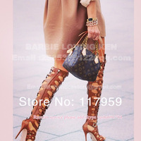 Hot Selling 2013 genuine leather Toe Knee High Sandals Women High Heel Cut-outs Boots