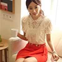 Free Shipping! Hot Sale S/M/L/XL/XXL Korean Fashion Elegant Summer Shirt Women White Ruffle And Beading Short Sleeve Lace Blouse