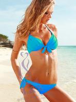 Push up 4 split bikini neon color small