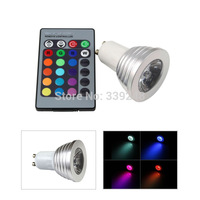 GU10 3W RGB LED 16 Colors Light Magic Ceiling Lamp Bulb + IR Remote