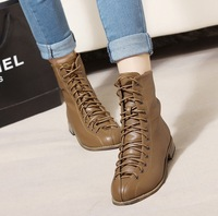 Free shipping fashion short sexy ankle Womens shoes  pumps boots vintage elegant pointed toe lacing martin motorcycle ankle