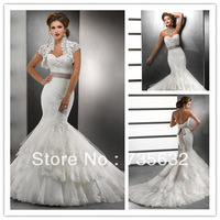 Free shipping Custom Fashion  Ivory Sweetheart  Mermaid  train with Bolero  lace Flower Satin wedding dresses wedding gowns A268