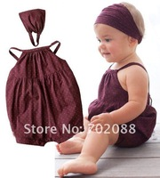 Free shipping Retail baby romper/jumpsuit Cotton Romper+Headband Toddler Bodysuit Rompers promotion
