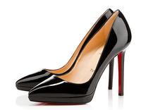 Black nude color waterproof Taiwan pointed 12CM fine with high heels red Bottom Heels Heels