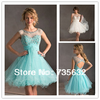 2014 New Free shipping Sheer Straps   Exquisite Fashion A Line Mini  beaded white  Organza Cocktail Dress Party Dress A270