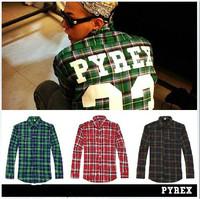 2014 brand kanye west jay-z R&B Chris Brown style PYREX VISION Fashion loose men fashion clothing Lattice shirt designer shirts