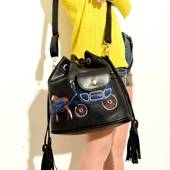 Tassel carriage bucket bag autumn all-match vintage shoulder bag messenger bag handbag women's small bag