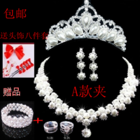 The bride accessories three pieces set pearl necklace earrings hair accessory wedding jewelry wedding accessories