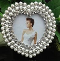 Cheap 3X3 Inch Mini Sided Zinc Metal Photo Frames Small Silver Sweet Heart Photo Frame W/ Rhinestones/Pearls
